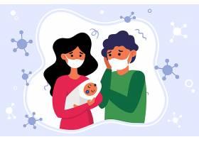 不高兴的父母戴着口罩抱着孩子_91769560101