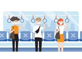 乘客站在公交车上与社会保持距离_118793340101