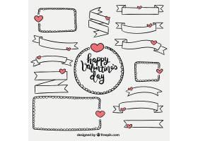 线描缎带和手绘情人节相框
