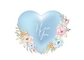 创意造型情人节蓝青色框装饰用我爱你字水彩花
