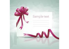 空白礼品卡配有紫色蝴蝶结色带和样文