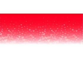 红色背景上可爱的发光的心形横幅_1192925101