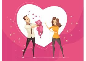 送给相爱情侣的浪漫礼物粉色背景和大心形交_402917101