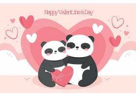 手绘情人节背景与熊猫夫妇