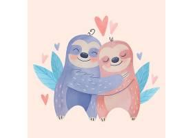 猫头鹰水彩画情人节动物夫妇