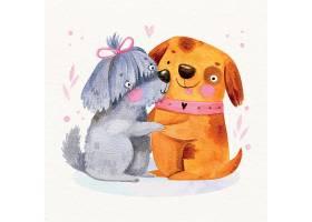 水彩画情人节动物夫妇