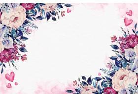 水彩画情人节带花壁纸