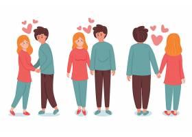 手绘情人节情侣恋爱插画设计