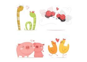 手绘可爱动物情人节情侣蛇苍蝇小鸡猪插画系列
