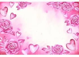 水彩画情人节背景玫瑰花和粉红色的心