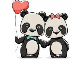 手绘情人节熊猫夫妇_115901090102