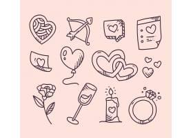 浪漫情人节简笔画元素集合