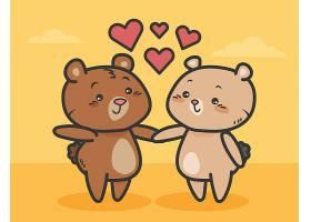 可爱的情人节小熊夫妇