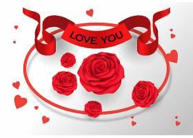 我爱你用玫瑰花在缎带上写字
