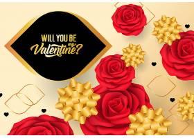 黑金红玫瑰和蝴蝶结情人节背景
