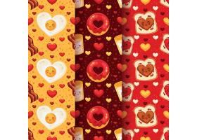 扁平情人节煎蛋甜甜圈面包吐司无缝装饰图案