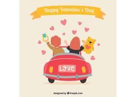 情人节背景与情侣在车里