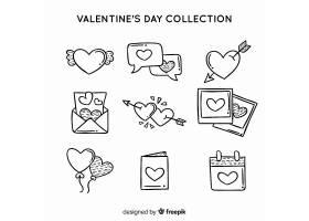 黑白简洁线条情人节标签系列