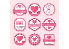 复古粉色情人节徽章套装