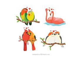 情人节小鸟夫妇情侣插画设计