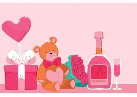 粉色情人节背景有泰迪熊和香槟