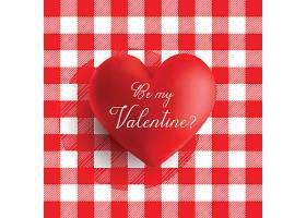 情人节心形红白相间的格子布纹背景图案