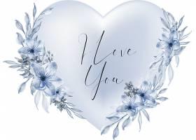 情人节蓝色心形我爱你用水彩花和叶子写的话_1186173701