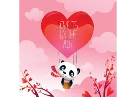 情人节熊猫熊升热气爱情气球矢量插图_104912801