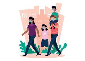 带着医用口罩带着孩子散步的父母_83988250101