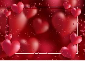 用心形和五彩纸屑装饰的情人节框架_1191391801
