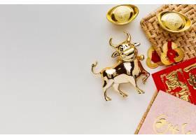 传统新年中国牛年白色背景