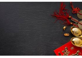 黑色桌面上的牛年新年装饰背景