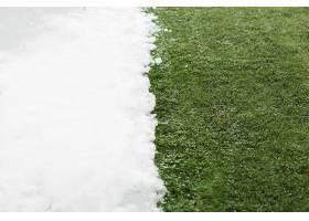 遇见白雪绿草特写冬春之间的概念背景关_1131560501