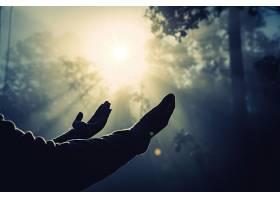 十几岁的女孩在阳光明媚的大自然中祈祷_395225501