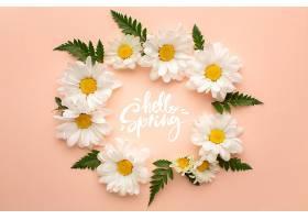 印有问候春天的花环免费提供照片_1247929101