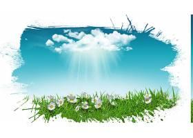 手绘的草上有雏菊和明亮的天空_89685101