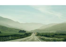在绿草如茵的田野中间有汽车行驶和森林覆盖_784827301
