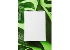 背景为绿色树叶上方的空白螺旋记事本_298335701
