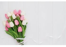 白色木质背景上的粉色和白色郁金香的可爱花_382656301
