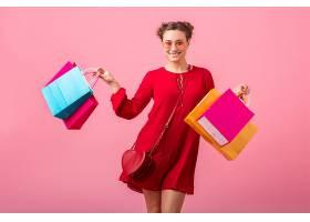 迷人快乐搞笑情感时尚女性购物狂身穿红色新_1215270701