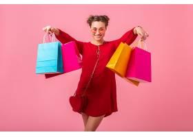 迷人快乐搞笑情感时尚女性购物狂身穿红色新_1215321601