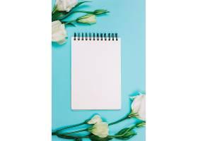 白色裸子植物蓝色背景上有空白螺旋记事本_397256801