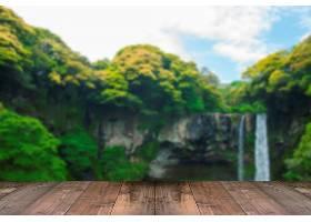 模糊全智延瀑布是韩国济州岛上的一座瀑布_123877501