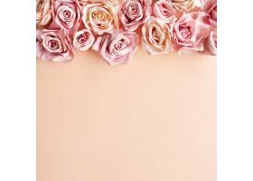 花卉构图粉色玫瑰花粉色粉色背景平面_432673801