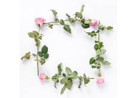白色背景上形成方形框架的玫瑰花的高角视图_333413301
