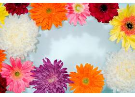 漂浮在水面上的五颜六色的花朵特写_1130984401