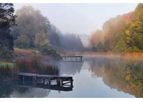 美丽的湖面被树木包围湖面上形成薄雾_1194213201