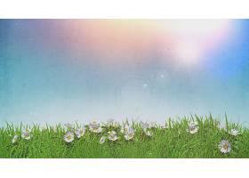 草地晴空中的3D雏菊带有垃圾复古效果_528665401