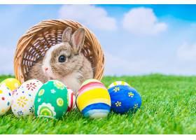 蓝天绿草里的兔子和复活节彩蛋_100992401
