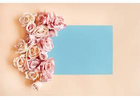 蓝色框架周围有美丽的玫瑰花免费照片_422264201